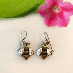 Jewelry - Sterling Silver 14k Gold Bee Earrings
